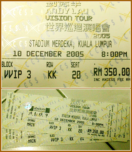 Andy Lau Vision Tour 2005 tickets