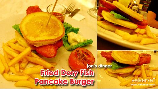 jon's dinner: Fried Dory Fish Pancake Burger