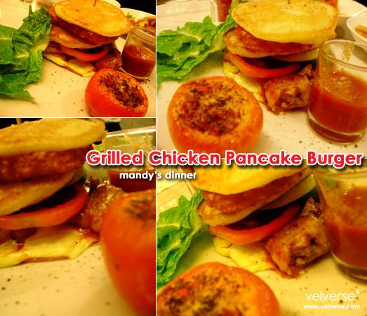 mandy's dinner: Grilled Chicken Pancake Burger